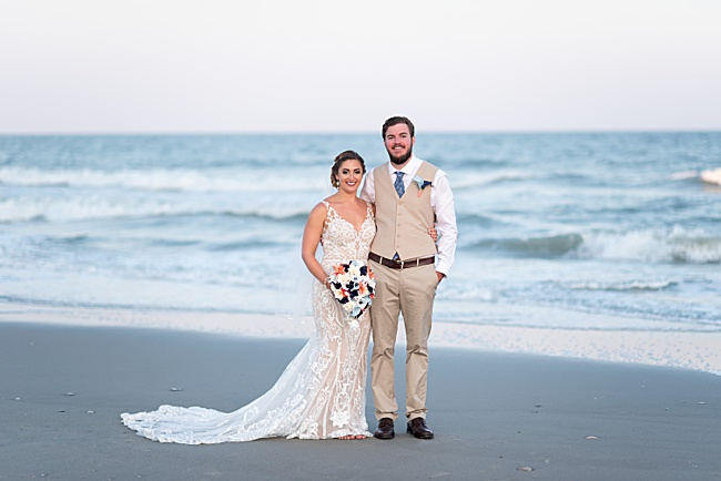 beach wedding,bride,groom,myrtle beach,ocean,ocean club,romantic,summer,sunset,wedding portrait,