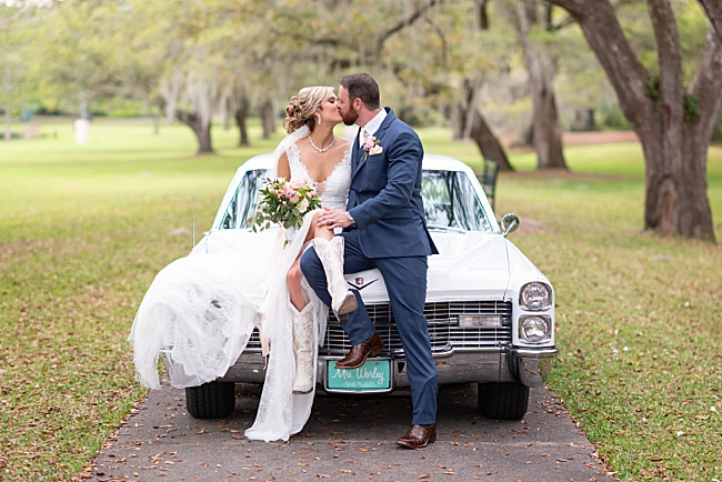 Brookgreen Gardens,Holiday Cottage,boots,bride,classic car,cowboy boots,groom,moss,oak trees,wedding,
