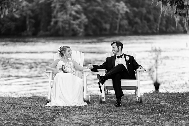 Murrells Inlet,black and white,bride,groom,holding hands,nik collection 2,river,waccamaw river,